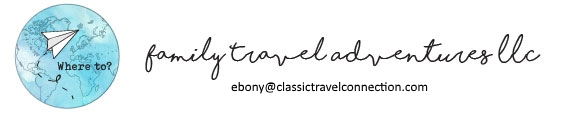 A Family Travel Adventures LLC logo with a contact email address